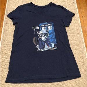 Grumpy Cat Doctor Who V-neck t-shirt (dark navy)